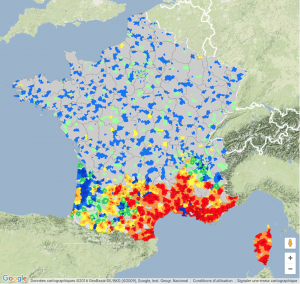 Carte de la Leishmaniose en France, tirée du site https://www.virbac.fr/home/chiens/leishmaniose.html le 21 aout 2016